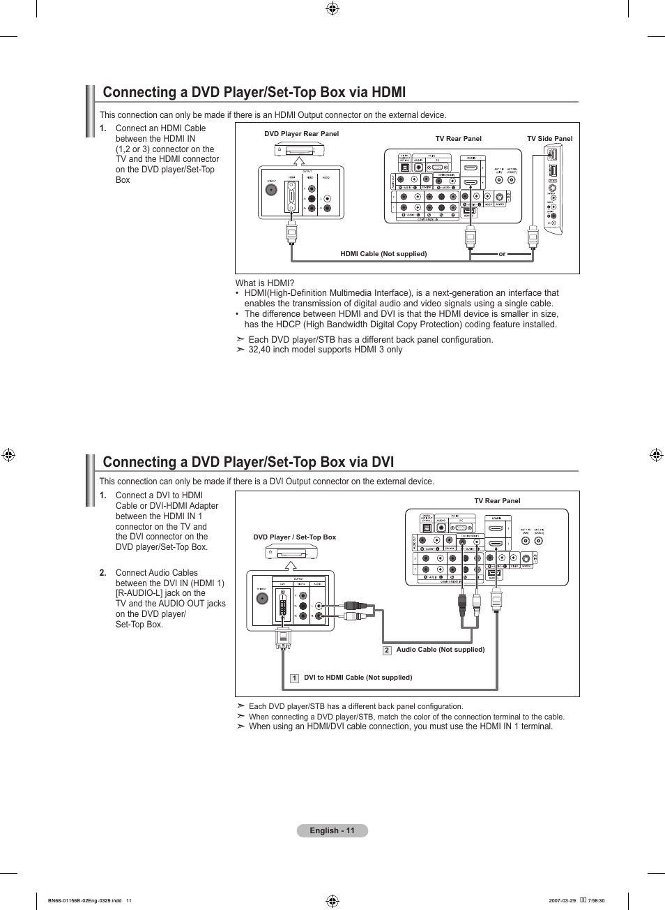 Connecting A Dvd Player Set Top Box Via Hdmi Wire Diagram Color Code Dvi Samsung Lnt2353hx Xaa User Manual Page 13 191