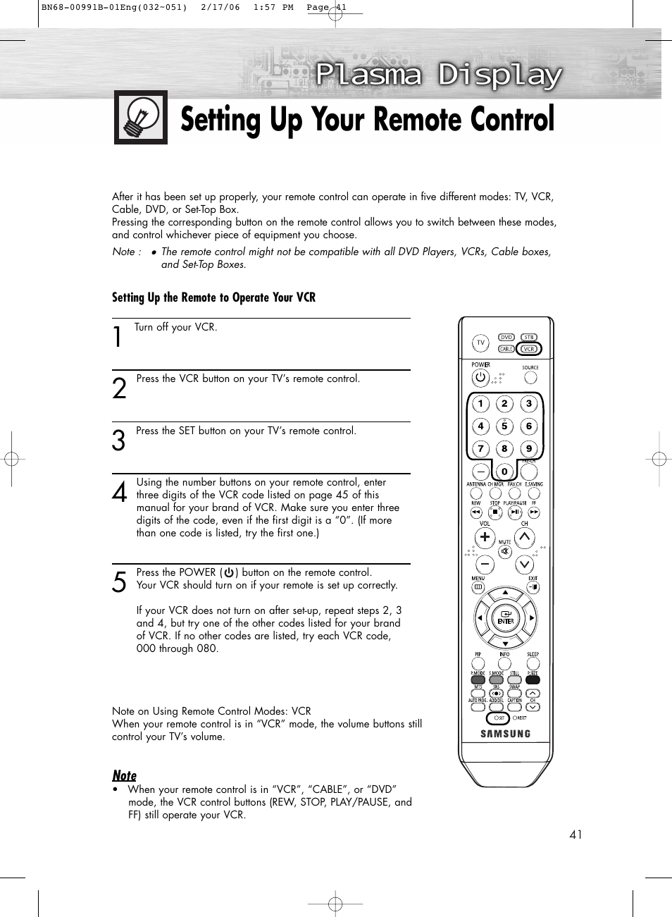 Setting up your remote control | Samsung HPS4253X-XAP User