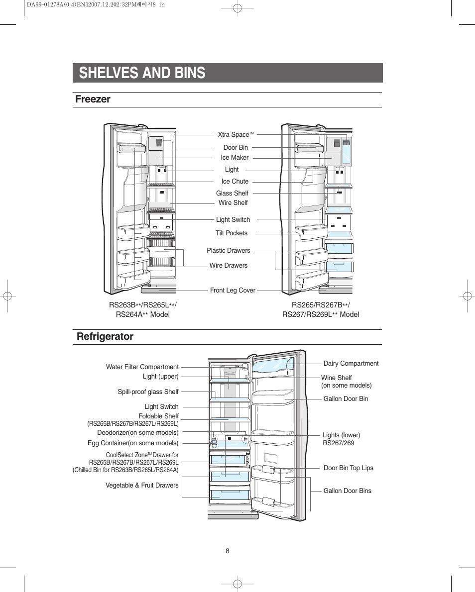 Shelves and bins, Freezer, Refrigerator | Samsung RS267LBSH-XAA User Manual  | Page 8 / 32