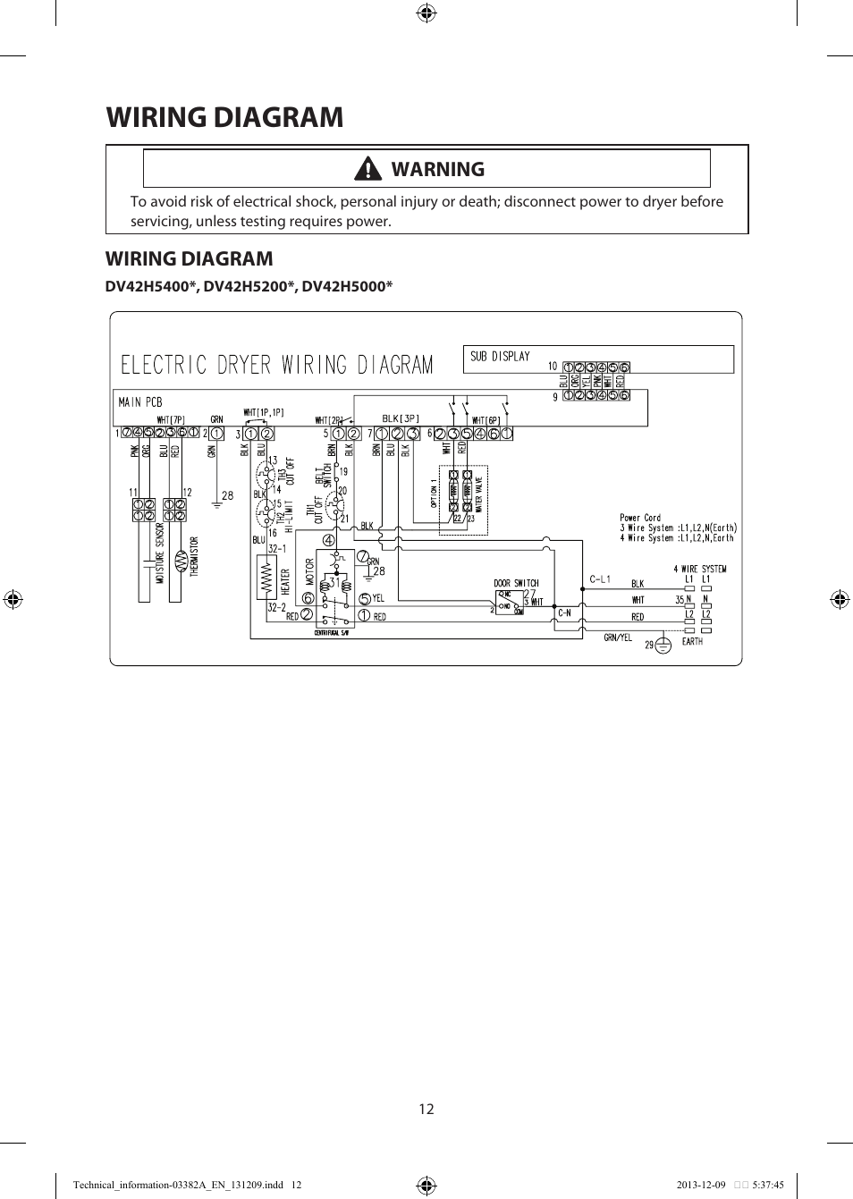 Wiring diagram Warning Samsung DV42H5200EF A3 User