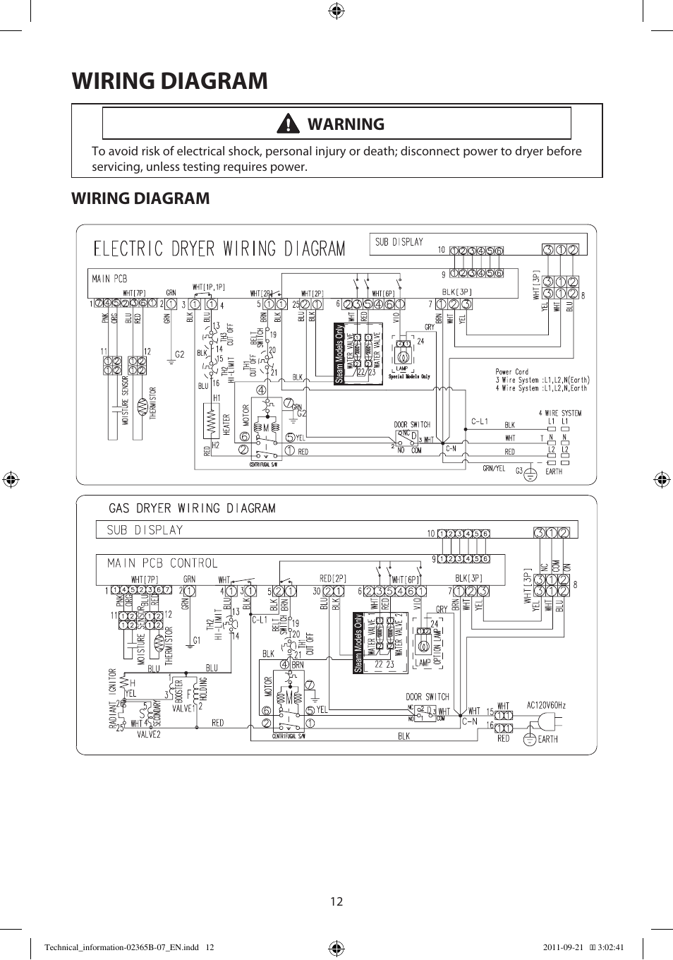 Wiring    diagram     Warning   Samsung DV448AEPXAA User Manual