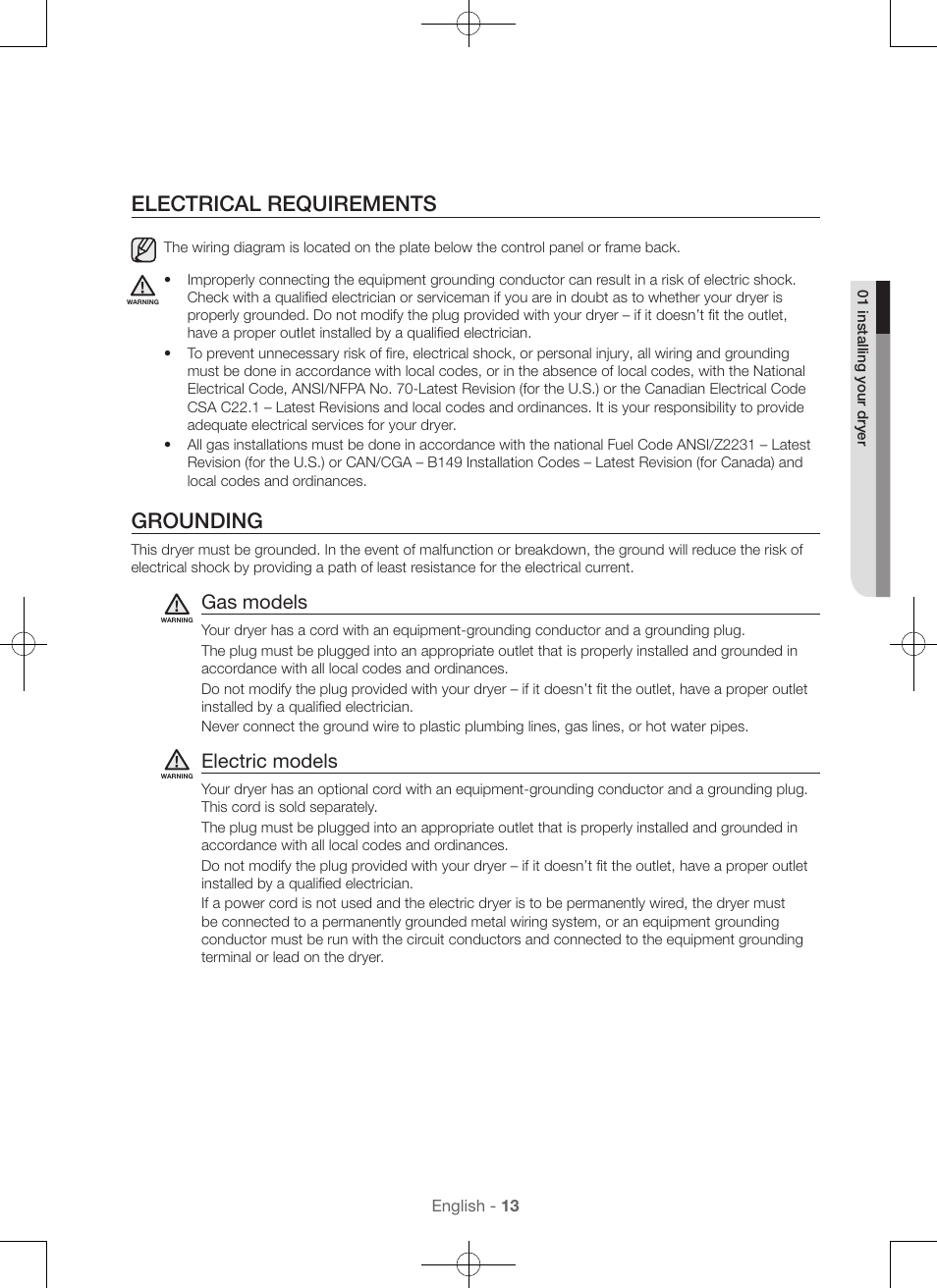Electrical requirements, Grounding, Gas models | Samsung DV56H9100EW ...
