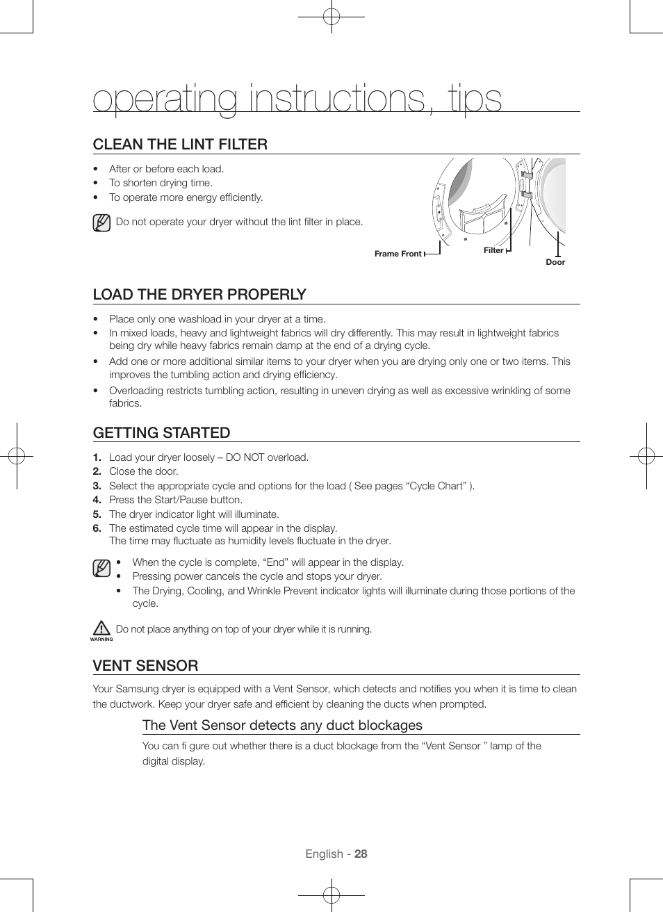 Operating instructions, tips, Clean the lint filter, Load the dryer