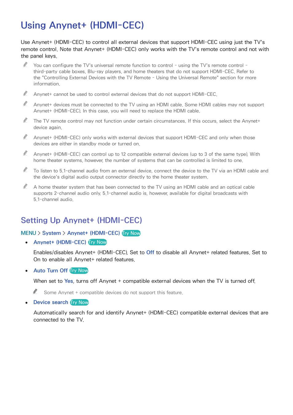 Using anynet+ (hdmi-cec), 168 setting up anynet+ (hdmi-cec