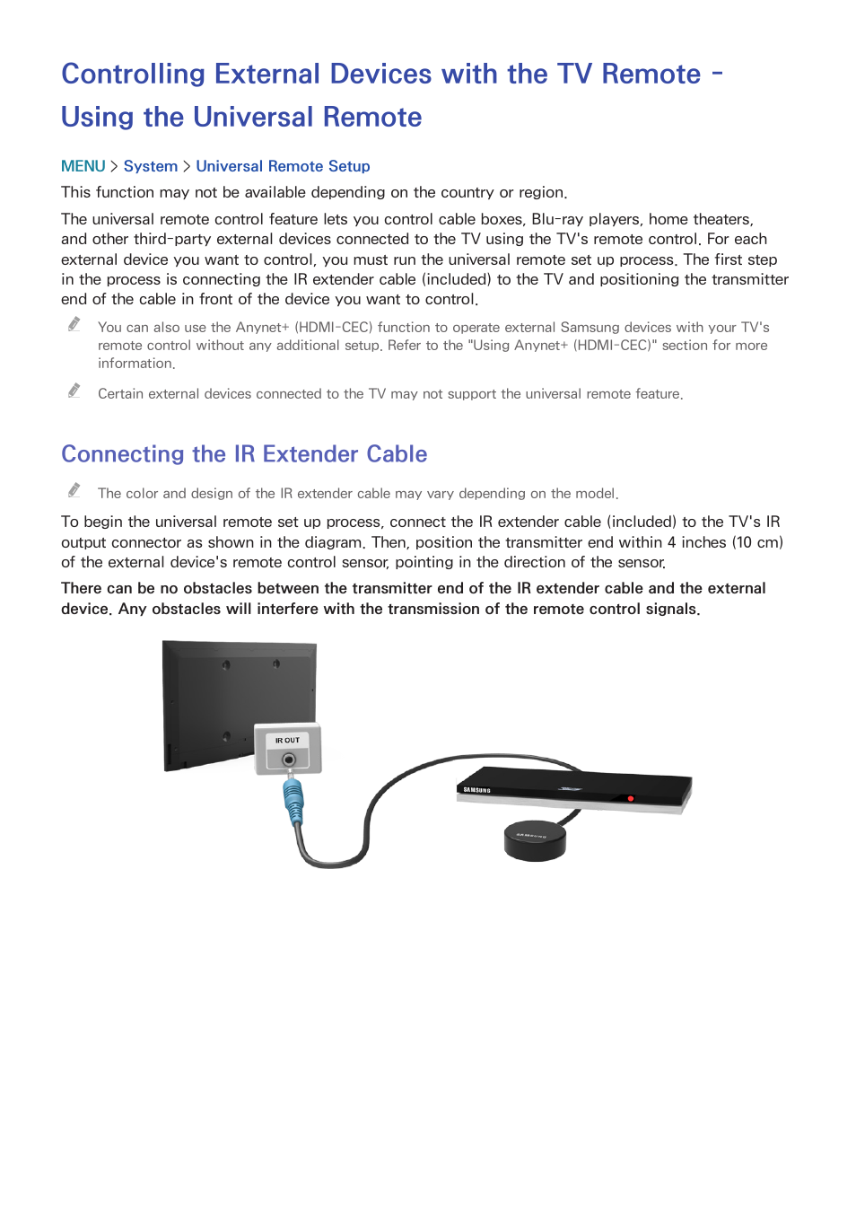 34 connecting the ir extender cable, Connecting the ir extender