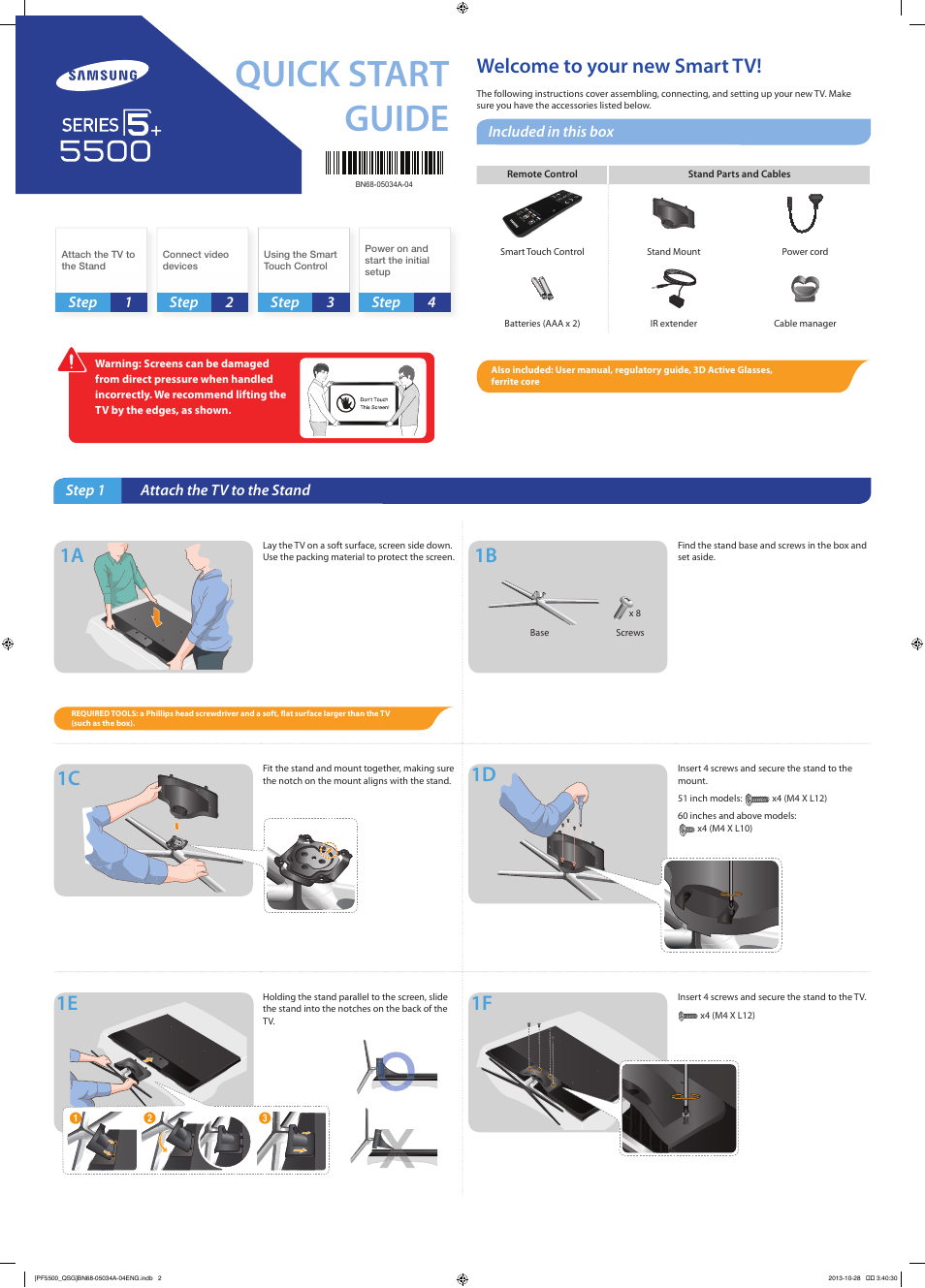 Samsung Pn60f5500afxza User Manual 2 Pages Also For