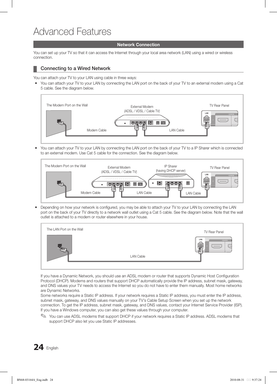 Advanced Features Samsung Ln55c630k1fxza User Manual Page 24 52 Vdsl Wiring Diagram