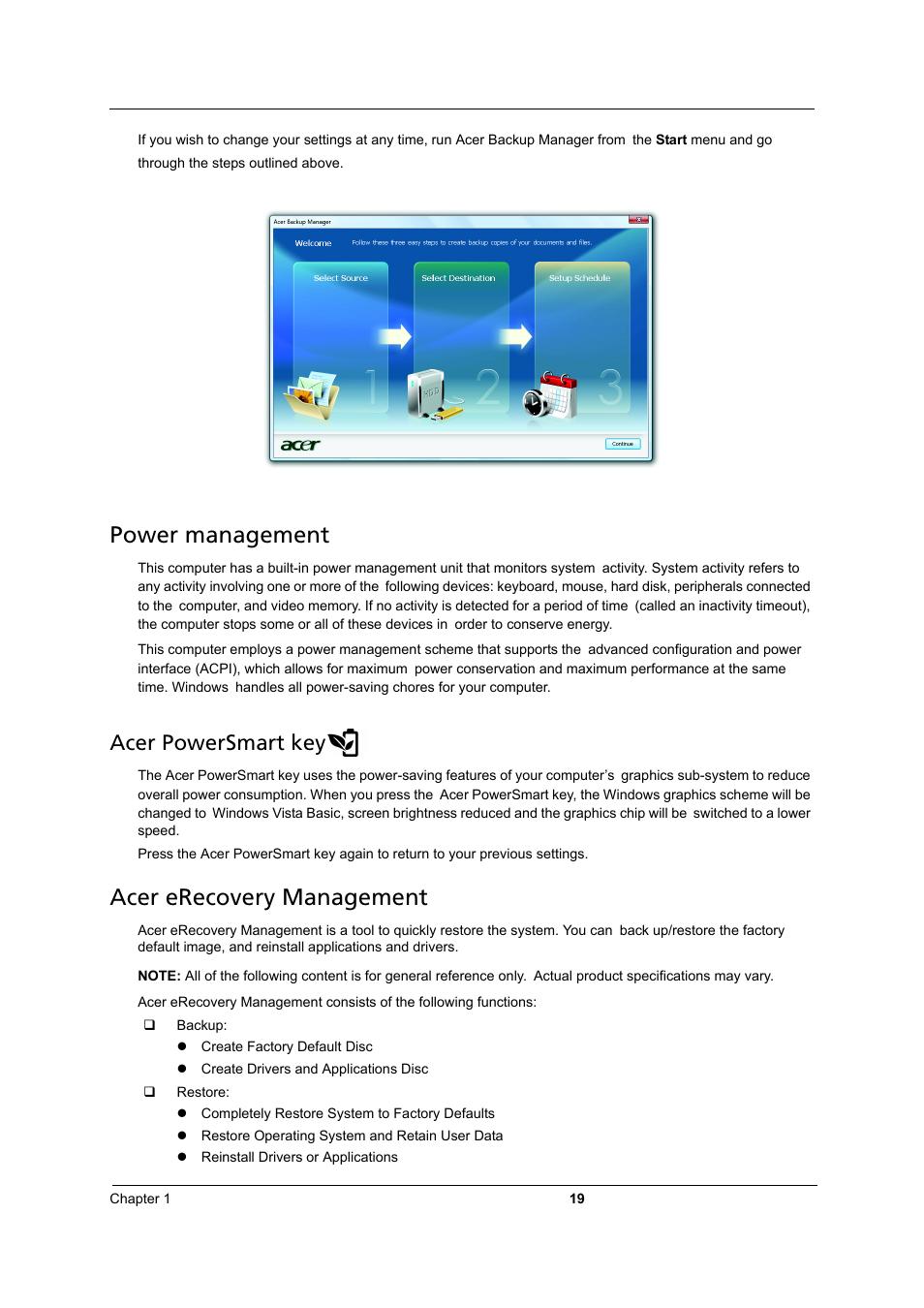 power management acer erecovery management acer powersmart key rh manualsdir com