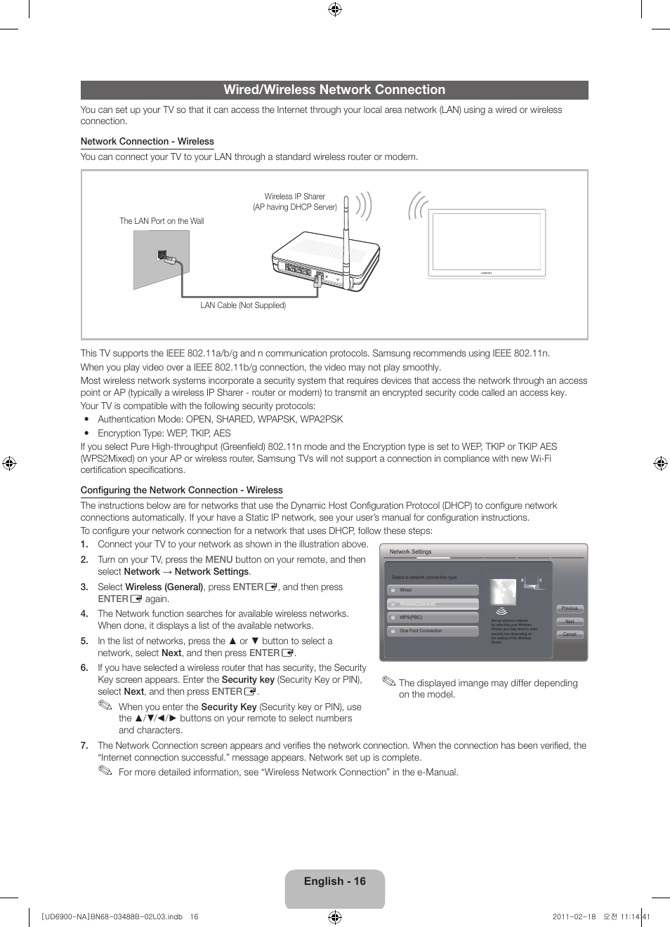 Wired Wireless Network Connection Samsung Un46d6900wfxza User Diagram Manual Page 16 74