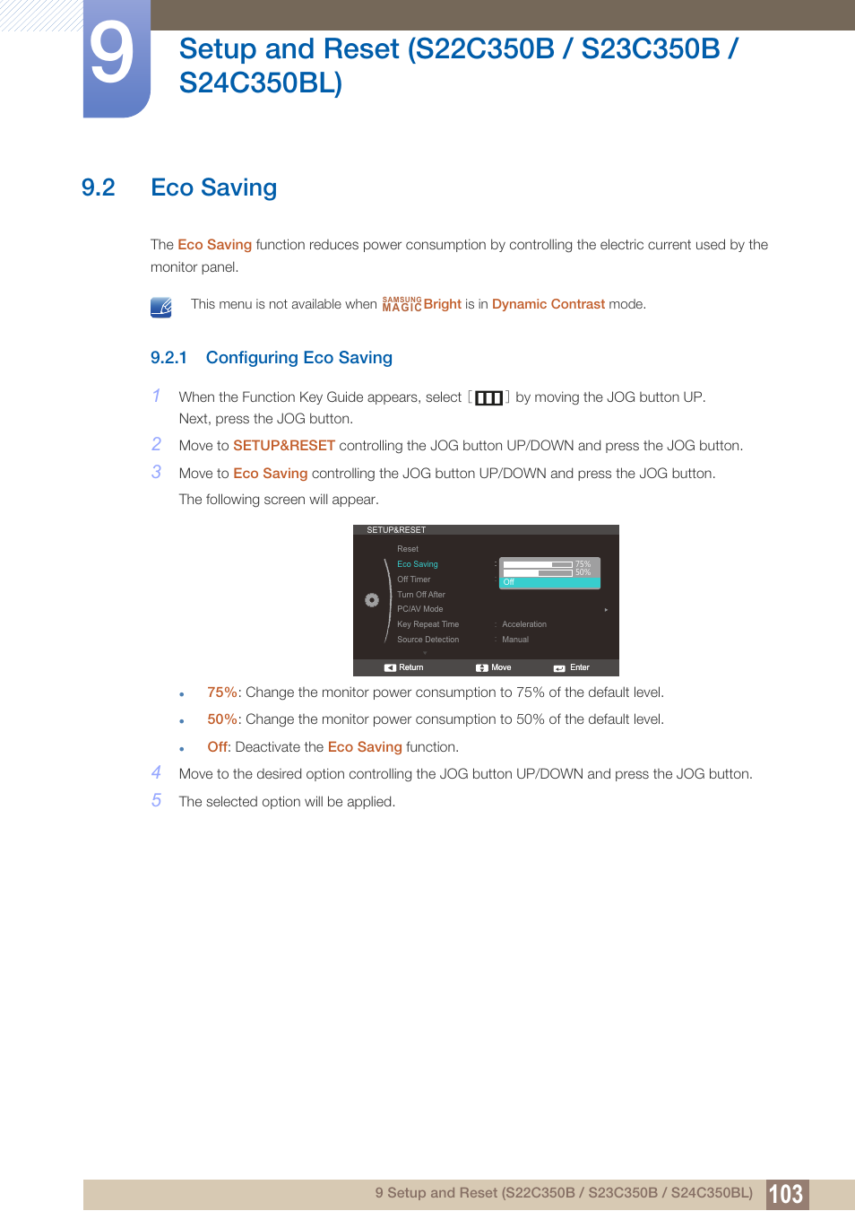 2 eco saving, 1 configuring eco saving, Eco saving | Samsung