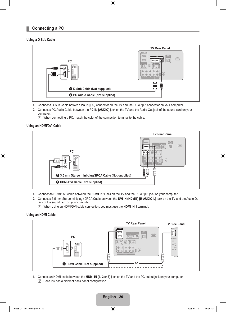 Connecting A Pc Samsung Ln52b530p7fxza User Manual Page 22 101 3 5 Mm Audio Cable Wiring 2