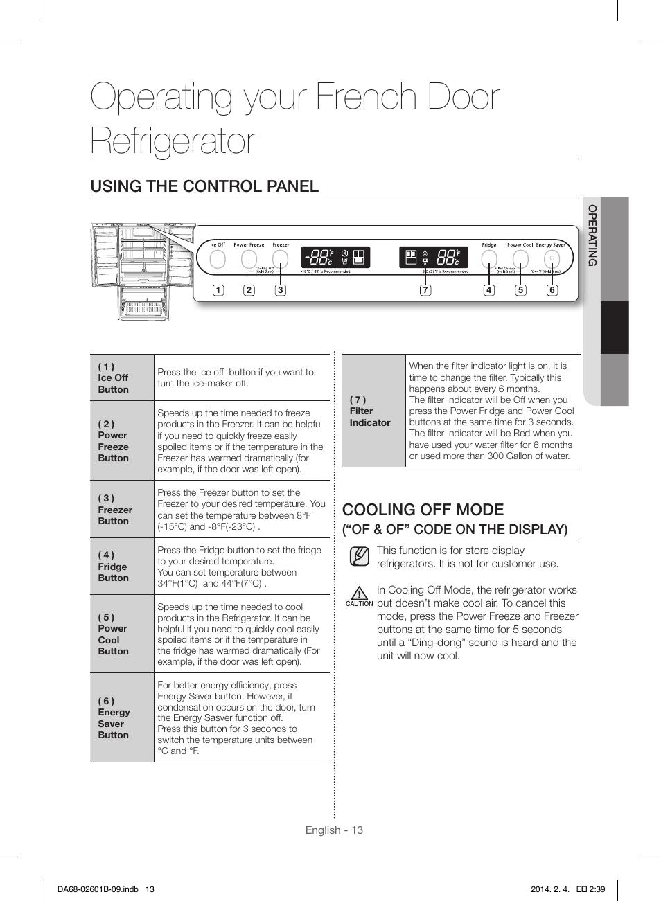 operating your french door refrigerator cooling off mode using the rh manualsdir com Samsung Refrigerator Problems Samsung TV Schematics