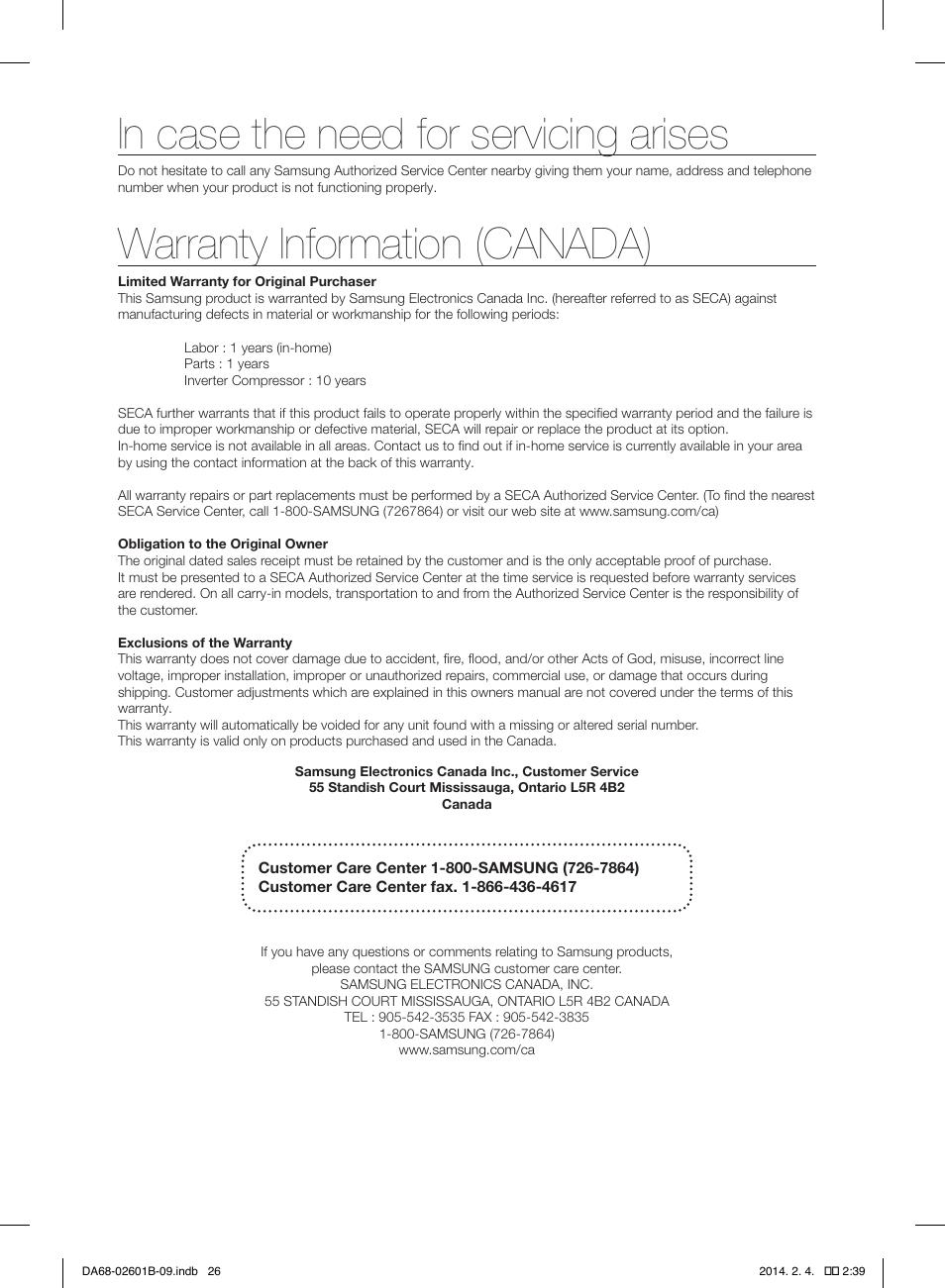 Warranty information canada samsung rf261biaesr aa user manual warranty information canada samsung rf261biaesr aa user manual page 26 publicscrutiny Image collections