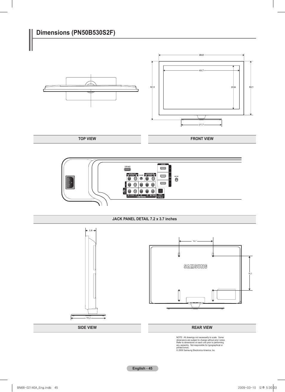 Dimensions pn50b5 0s f samsung pn58b530s2fxza user manual dimensions pn50b5 0s f samsung pn58b530s2fxza user manual page 45 92 sciox Gallery