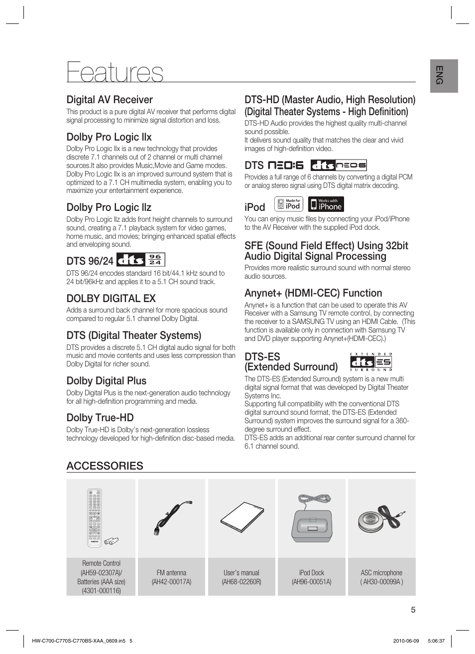 Features, Digital av receiver, Dolby pro logic llx   Samsung HW-C700B-XAA  User Manual   Page 5 / 62
