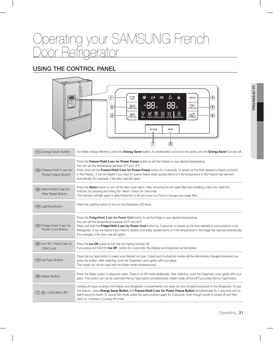 Operating Your Samsung Frenchdoor Refrigerator Using The