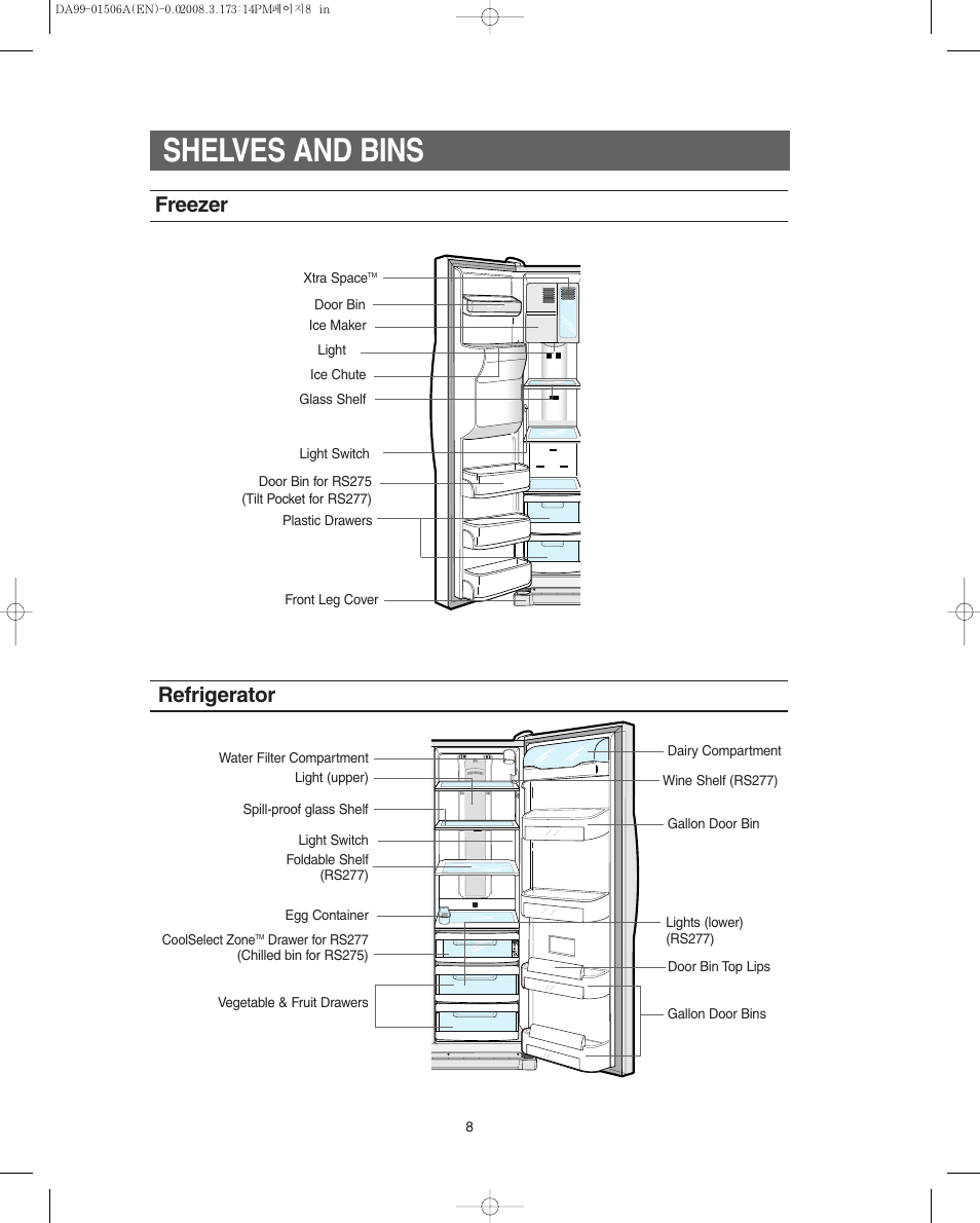 Samsung Rs277acpn Refrigerator Diagram Trusted Wiring Diagrams Rs253baww Shelves And Bins Freezer Rs275acrs Xaa User Kenmore
