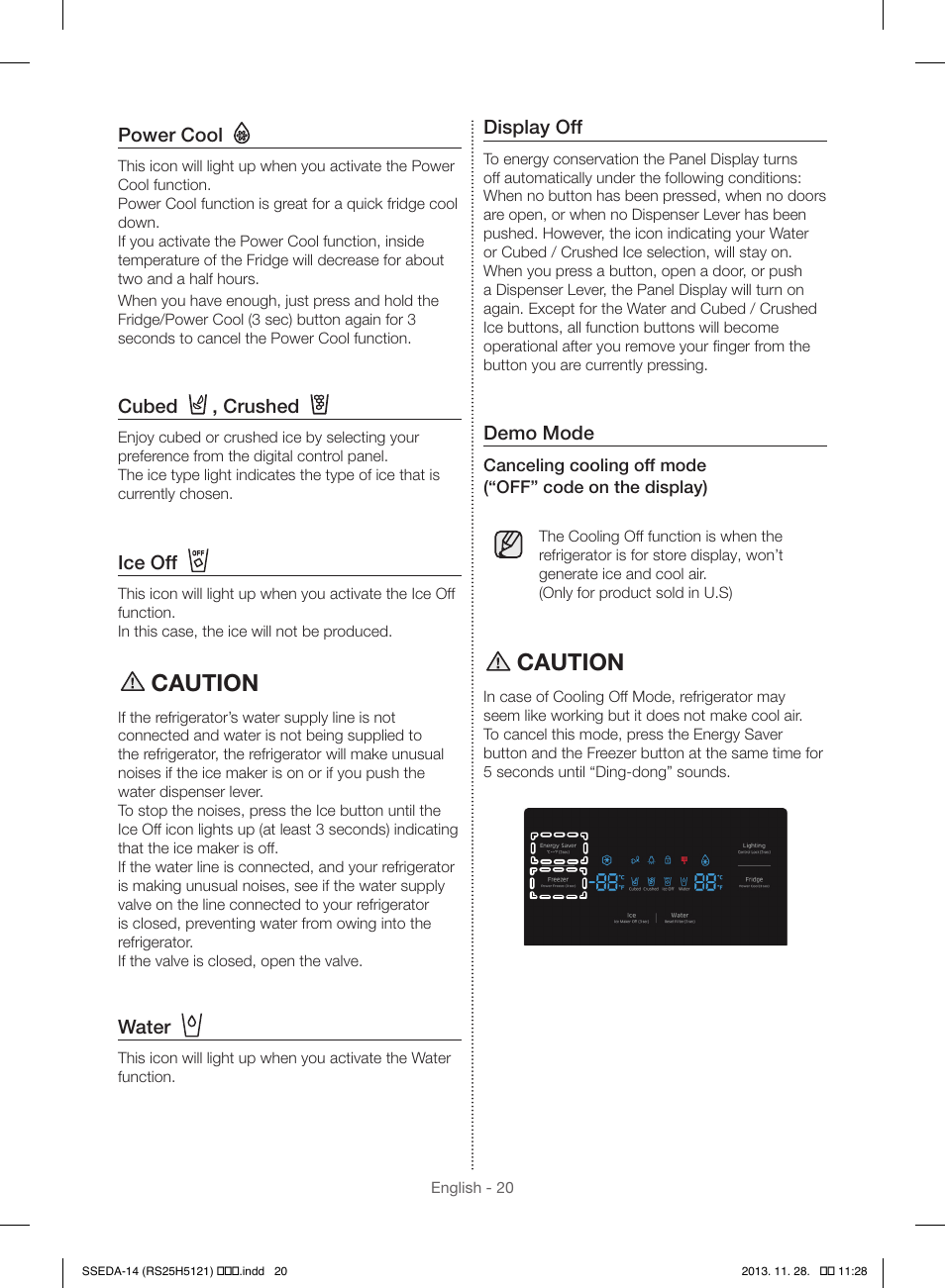 Caution   Samsung RS25H5000SR-AA User Manual   Page 20 / 32