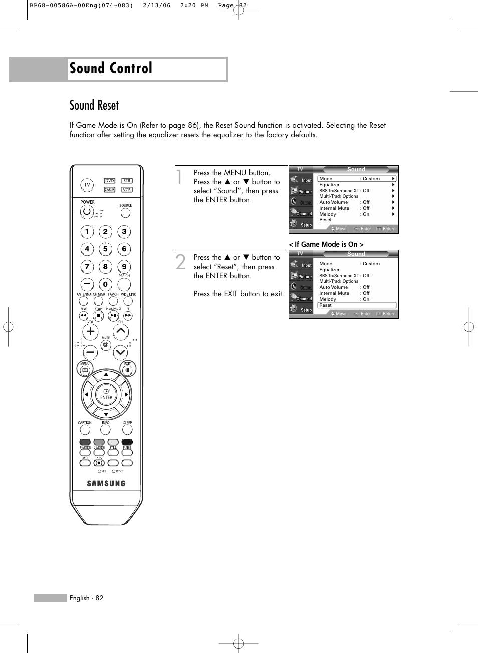 Sound reset, Sound control | Samsung HLS5086WX-XAA User