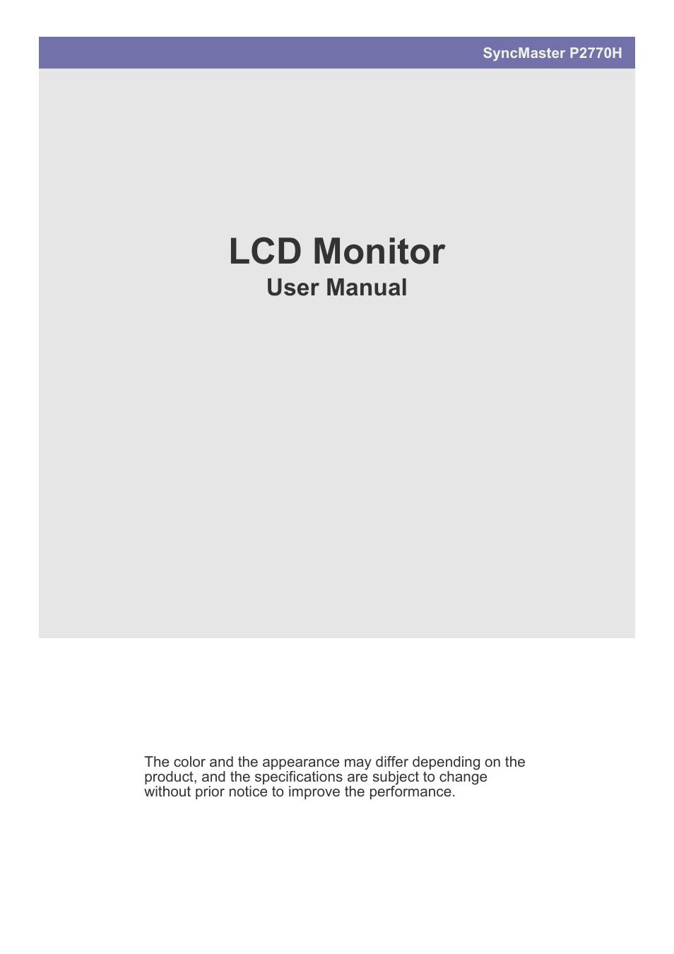 samsung ls27efhkuv za user manual 44 pages rh manualsdir com Samsung User Manual Guide Samsung Galaxy Phone Manual