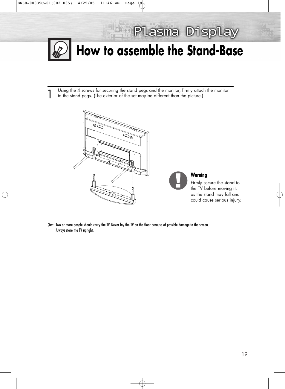 How to assemble the stand-base   Samsung SPR4232X-XAP User Manual