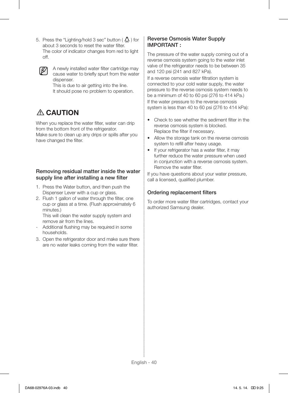 Caution | Samsung RH22H9010SR-AA User Manual | Page 40 / 136