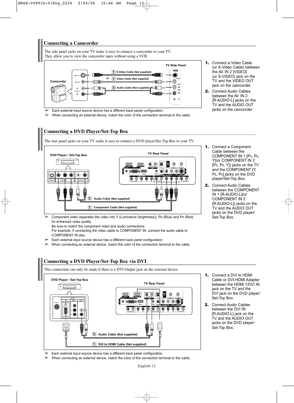Connecting A Camcorder Dvd Player Set Top Box Hookup Video Diagrams Cable To Tv Via Dvi Samsung Sps4243x Xaa User Manual Page 12 64