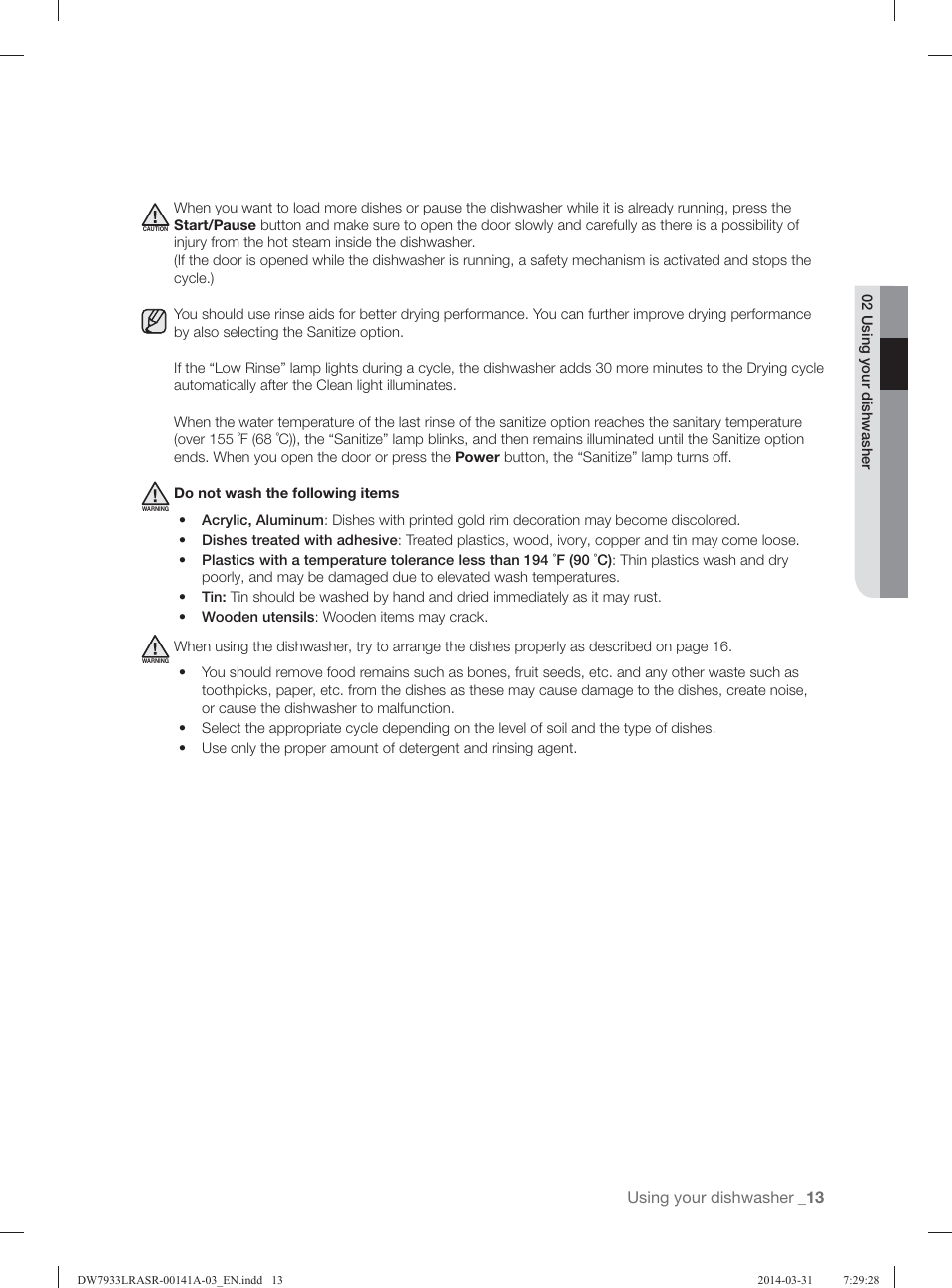 Using Your Dishwasher | Samsung DW7933LRABB AC User Manual | Page 13 / 96