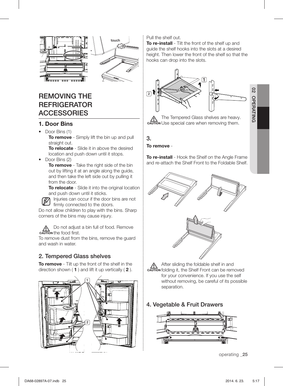 removing the refrigerator accessories door bins tempered glass rh manualsdir com Dresser Drawer Track Guide Undermount Drawer Guides