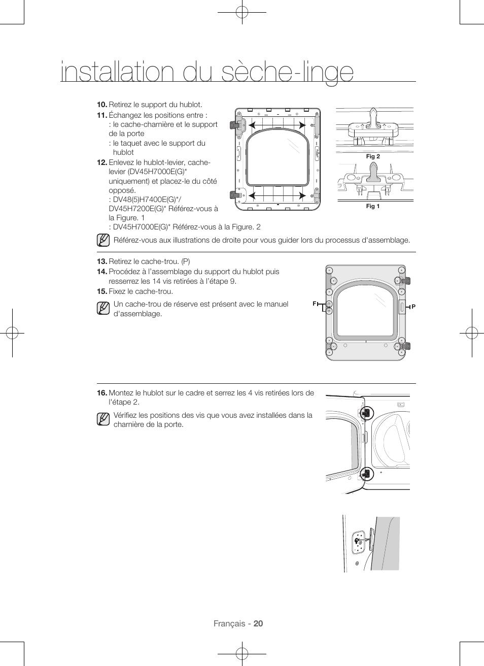 Installation du sèche-linge   Samsung DV48H7400GW-A2 User Manual   Page 60 /