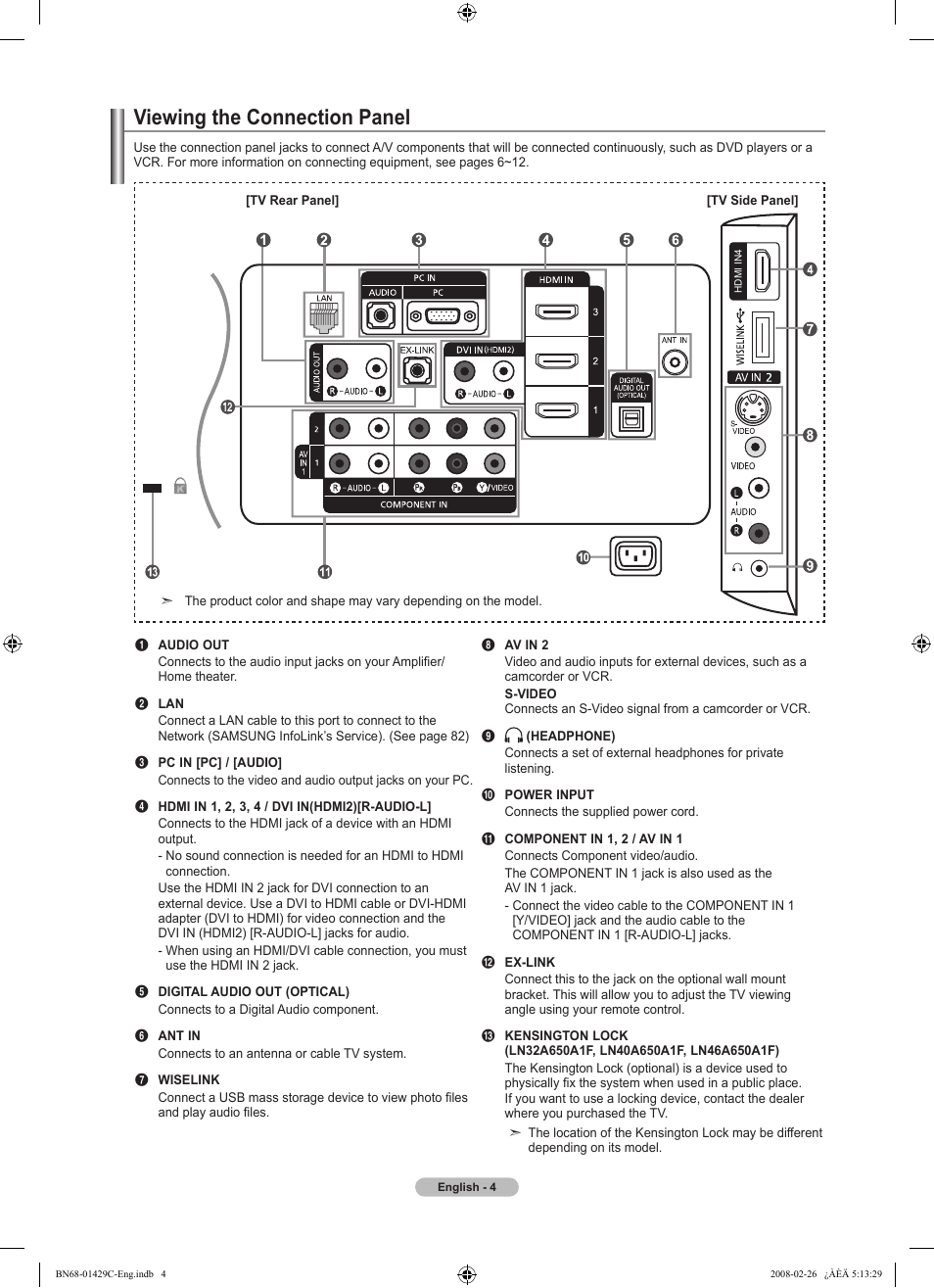 Viewing the connection panel   Samsung LN46A650A1FXZA User Manual   Page 6  / 222