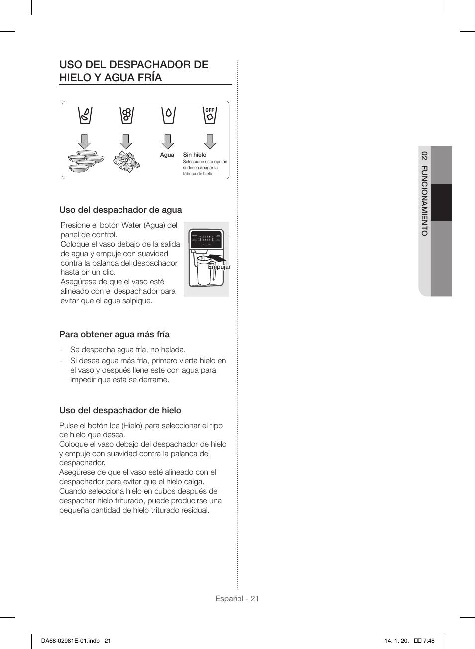Uso Del Despachador De Hielo Y Agua Fría Samsung Rs25h5000ww Aa