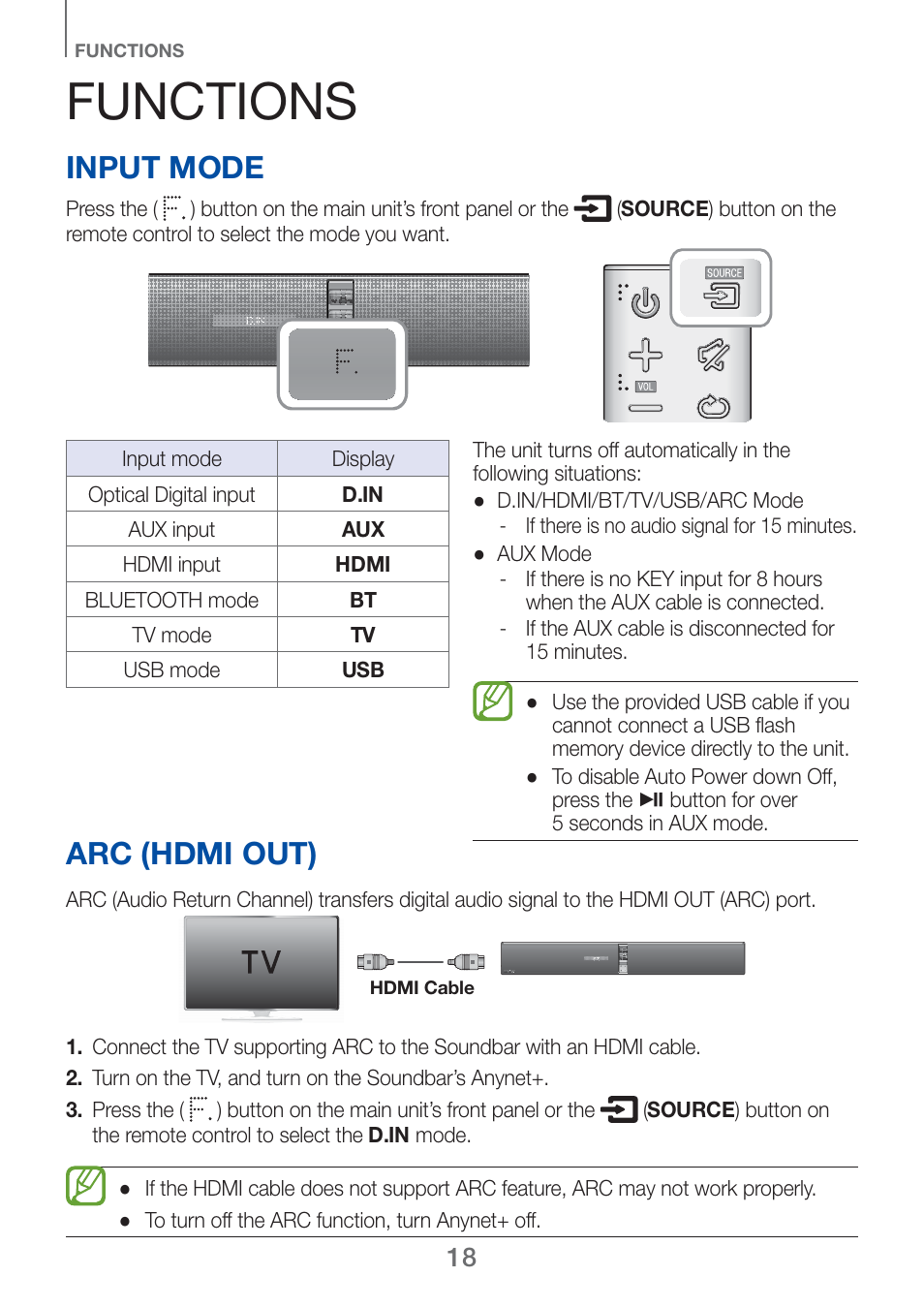 Functions, Arc (hdmi out), Input mode | Samsung HW-H750-ZA User