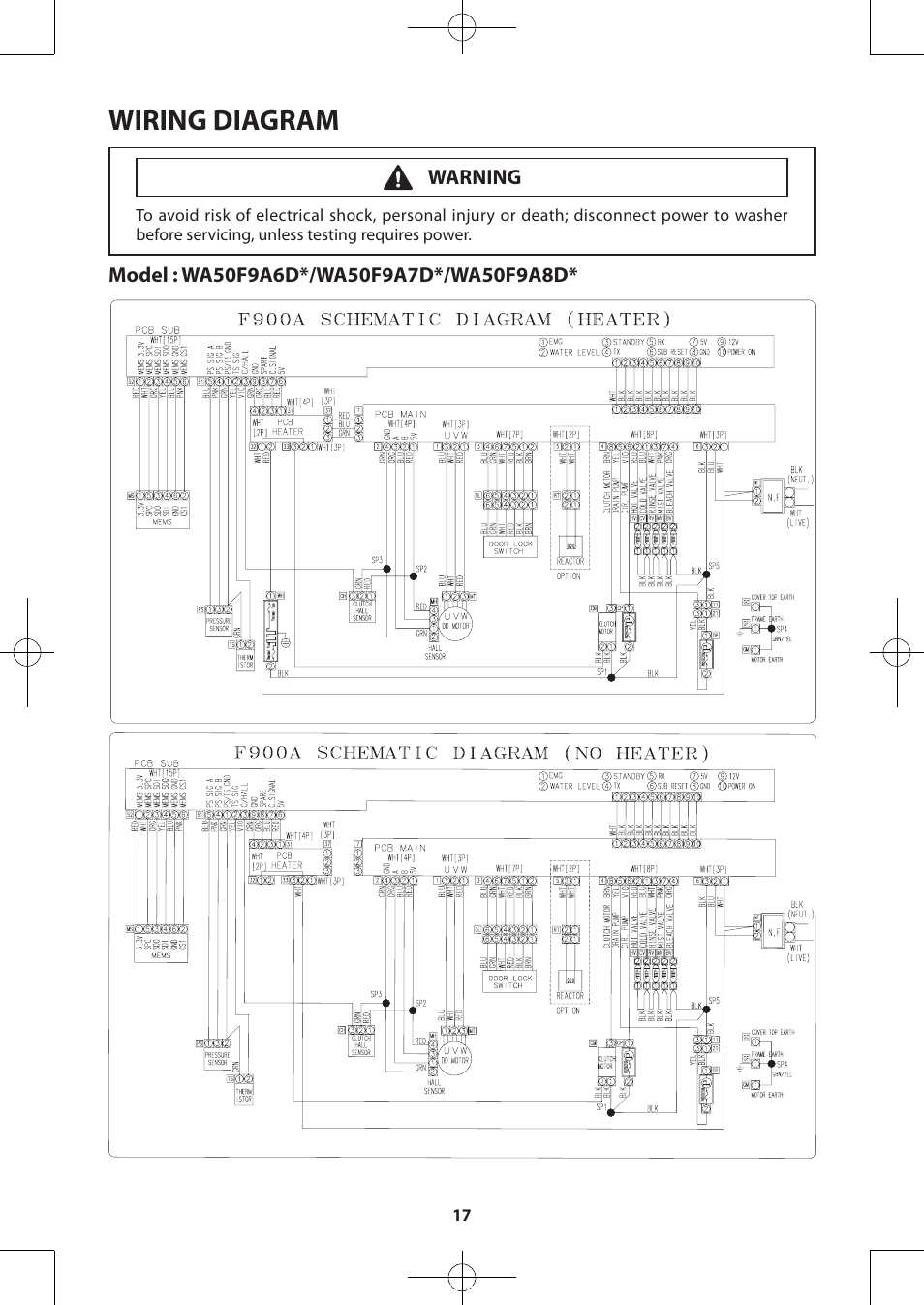 wiring diagram samsung wa50f9a7dsp a2 user manual page 17 60