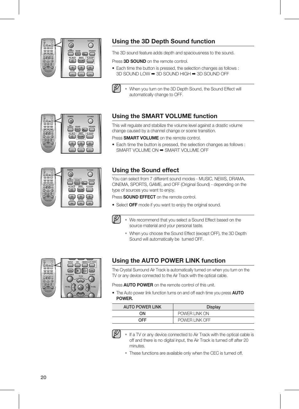 Using The 3d Depth Sound Function Smart Volume Auto Off Power Source Effect Samsung Hw E450 Za User Manual Page 20 26