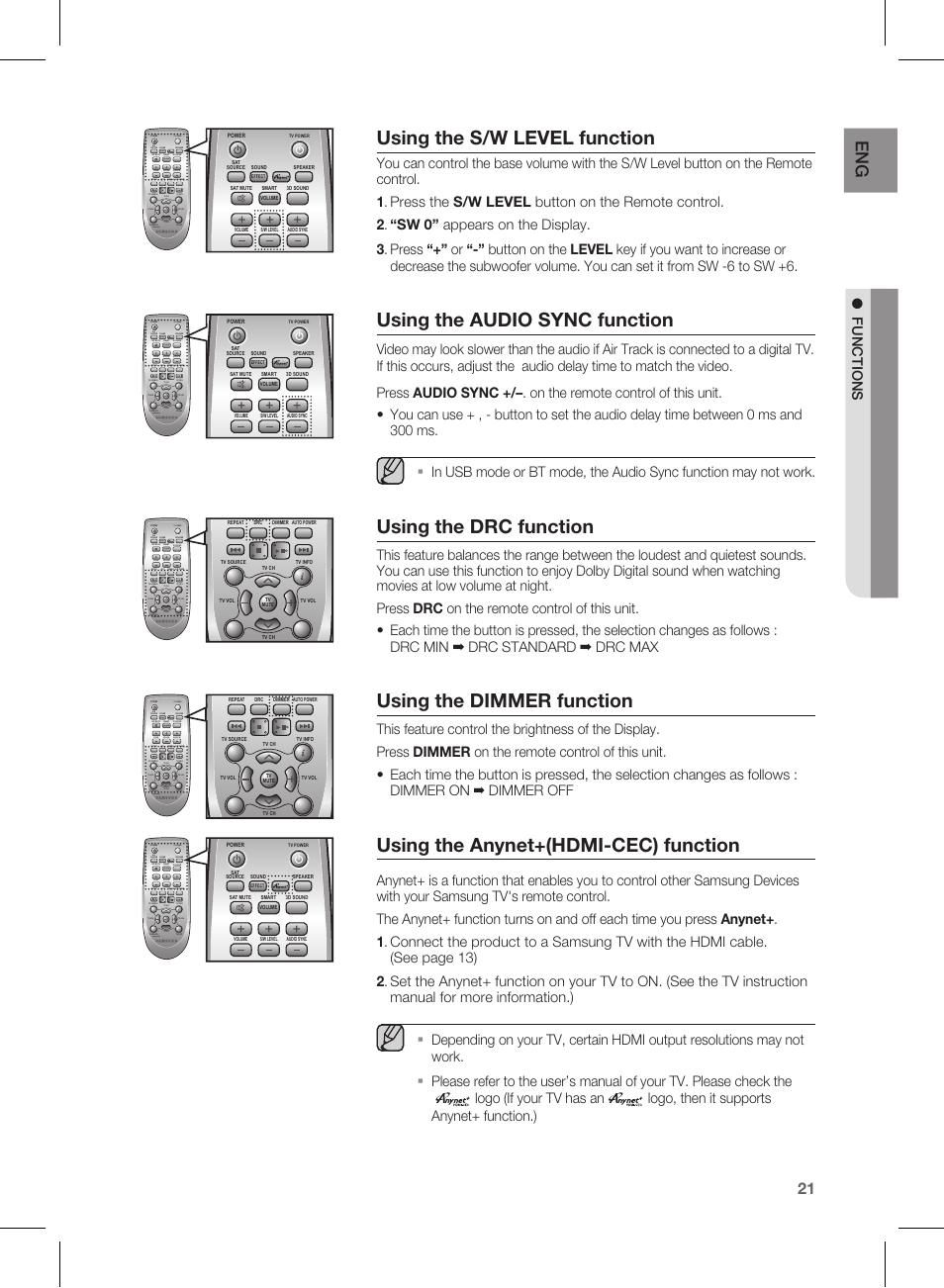 using the s w level function using the audio sync function using rh manualsdir com samsung hw 450 manual samsung hw-e450 notice