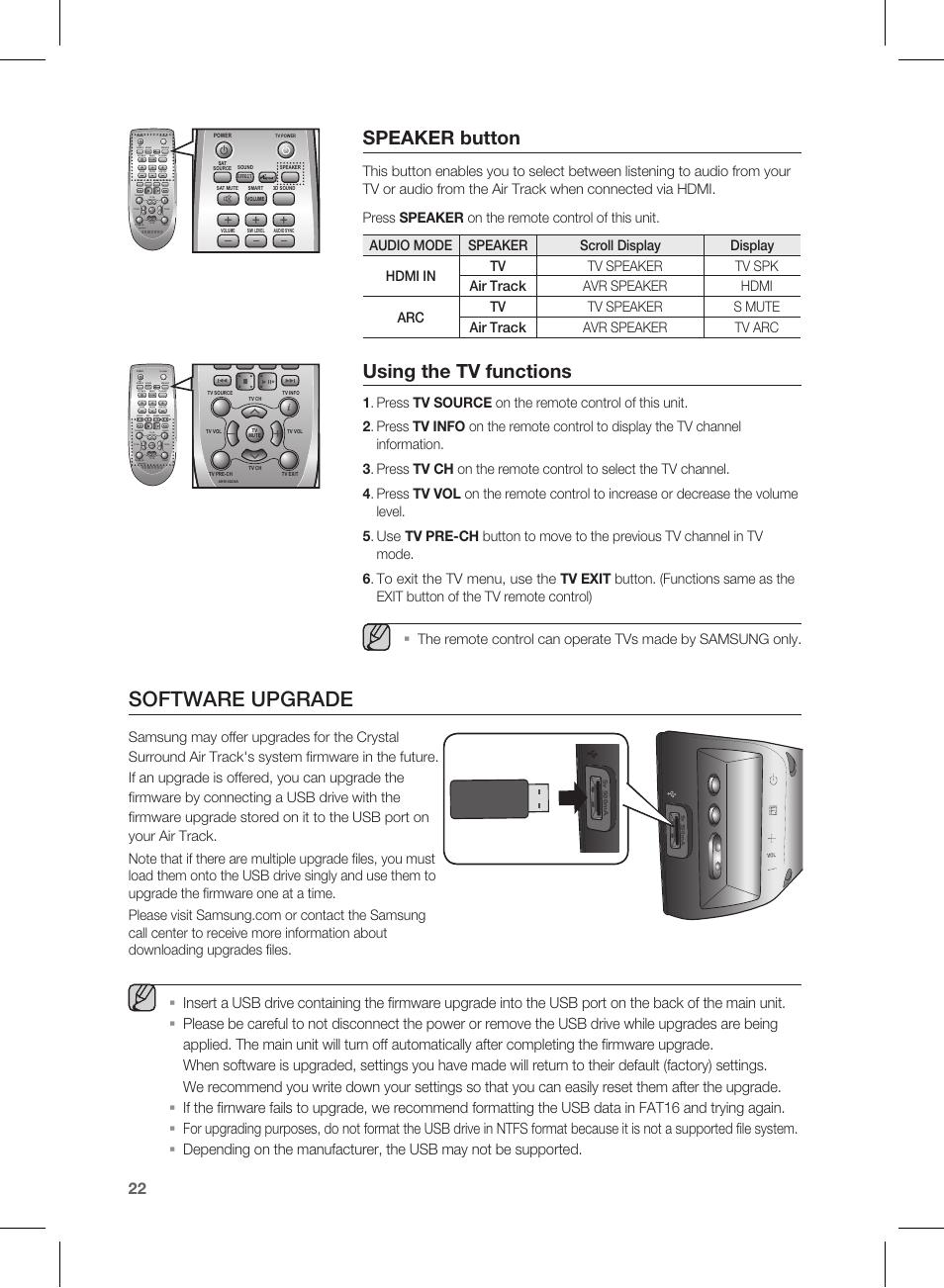 software upgrade speaker button using the tv functions samsung rh manualsdir com samsung hw 450 manual samsung hw c450 manual