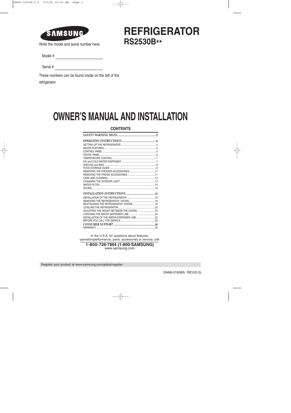 samsung rs2530bwp-xaa user manual | 32 pages | also for: rs2530bbp-xaa,  rs2530bsh-xaa