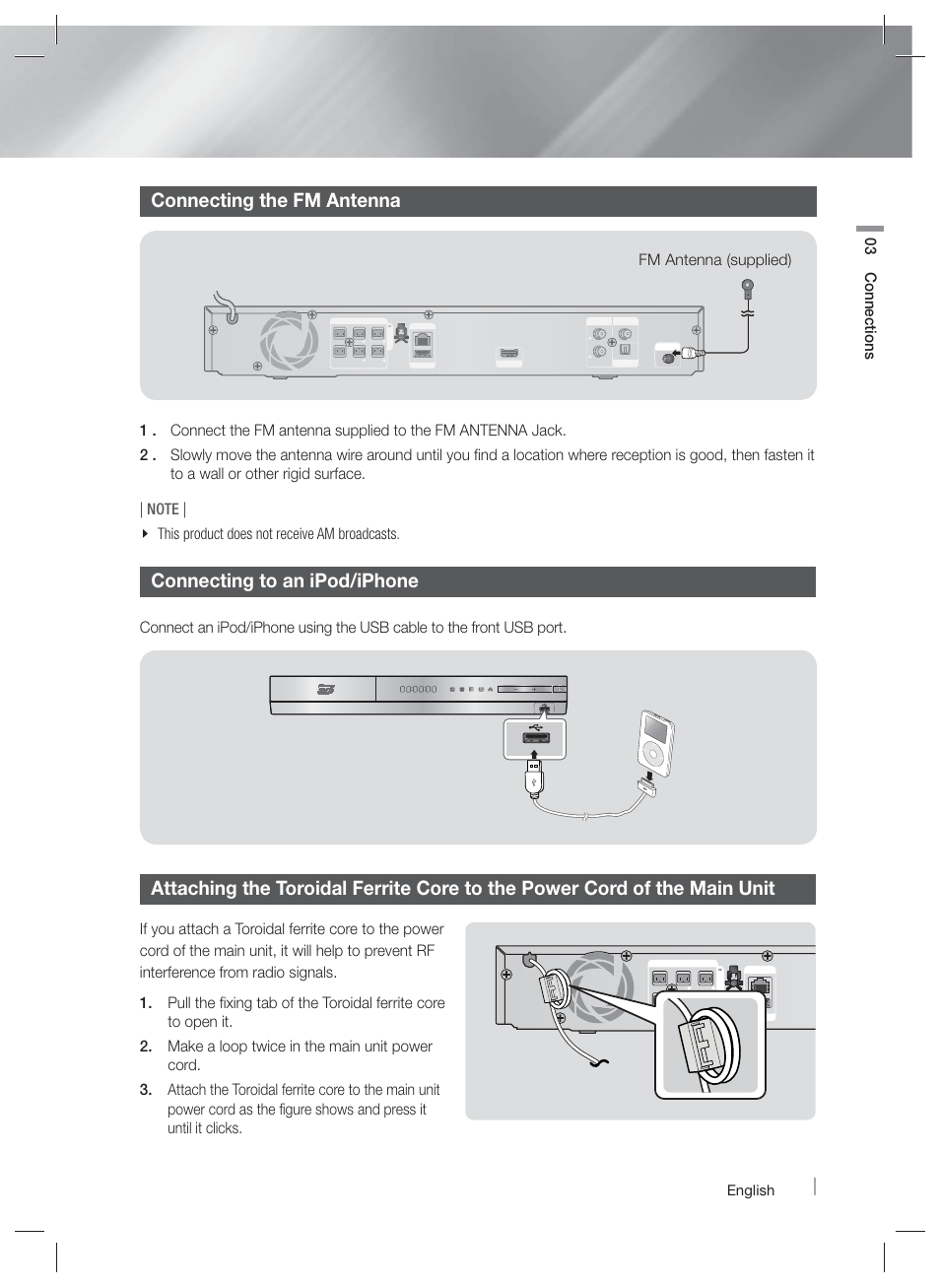 Connecting The Fm Antenna To An Ipod Iphone 03 Usb Connector Wiring Connection Connections Samsung Ht Em45 Za User Manual Page 17 59