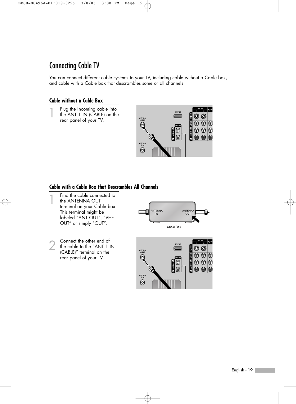 connecting cable tv cable without a cable box samsung hlr4266wx rh manualsdir com