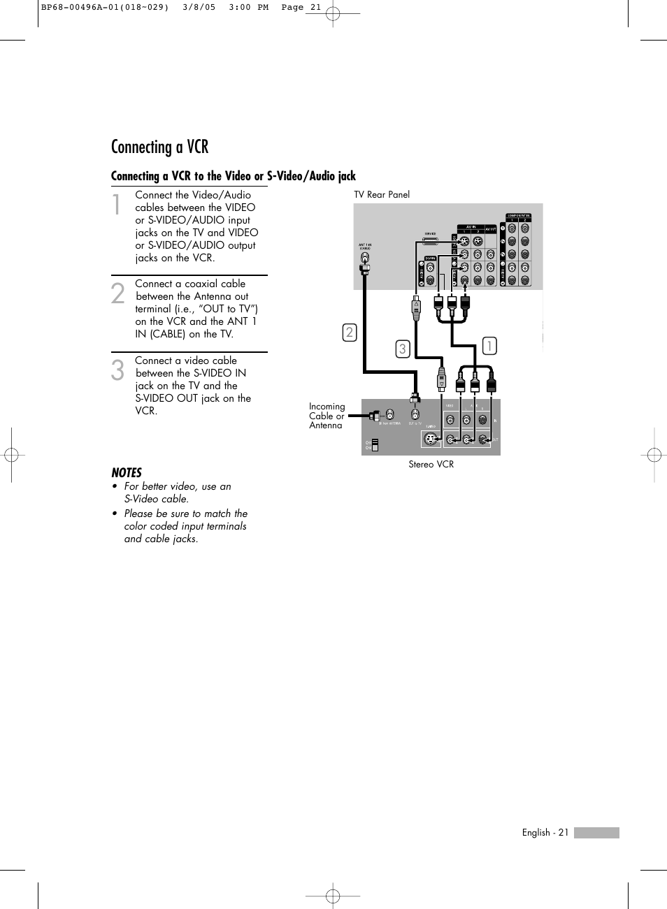 connecting a vcr samsung hlr4266wx xaa user manual page 21 108 rh manualsdir com
