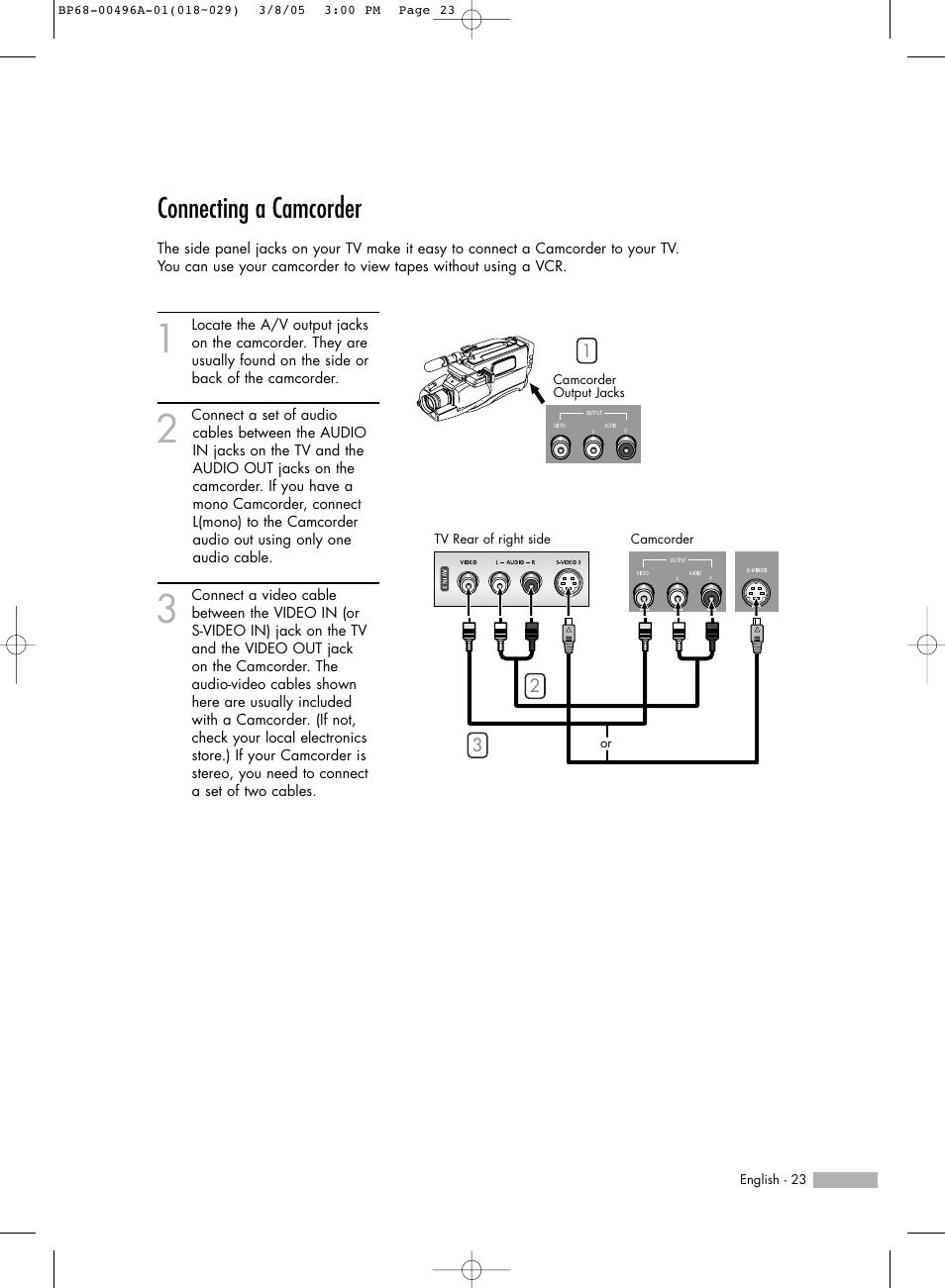 connecting a camcorder samsung hlr4266wx xaa user manual page 23 rh manualsdir com