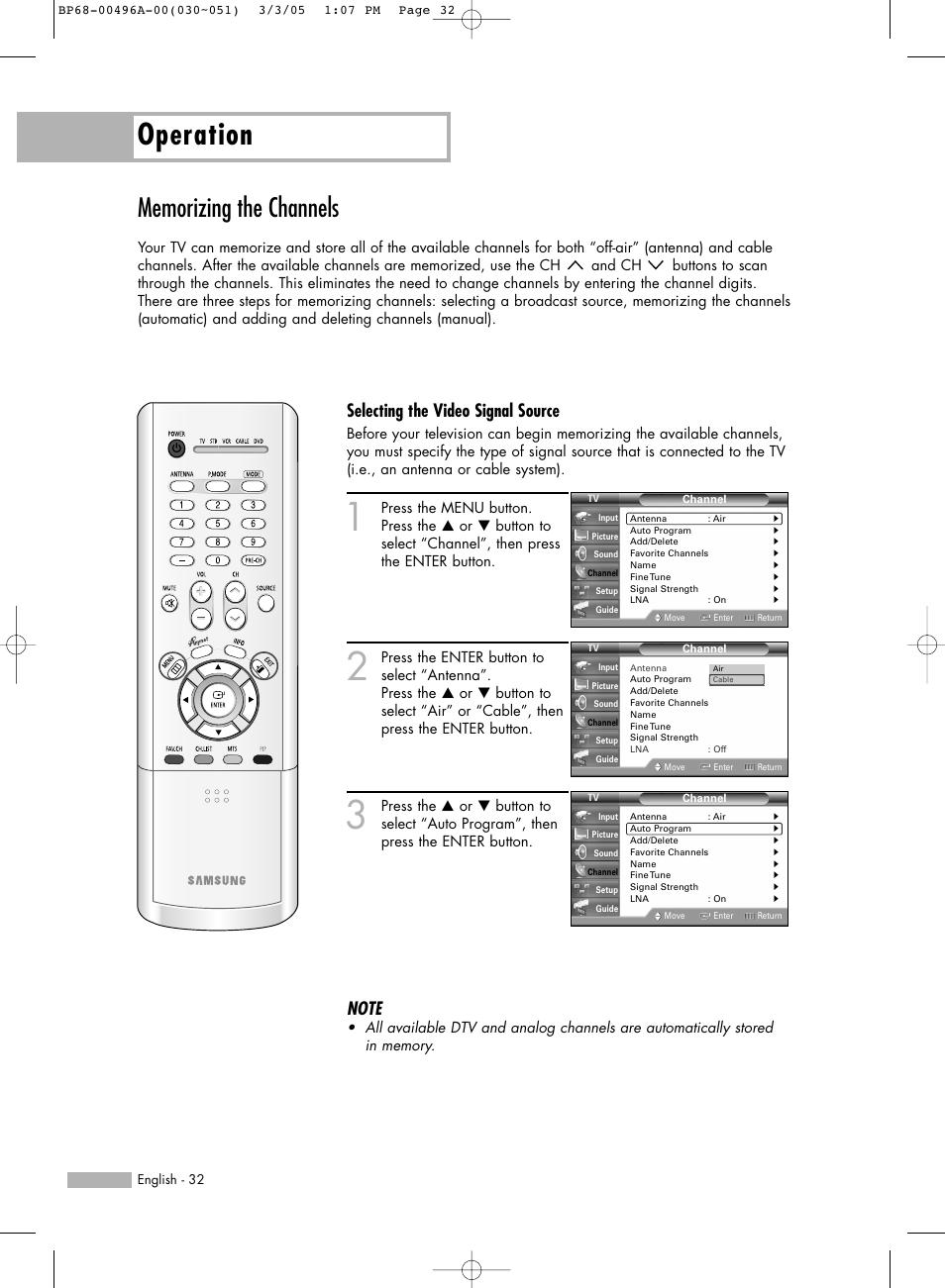 memorizing the channels operation selecting the video signal rh manualsdir com