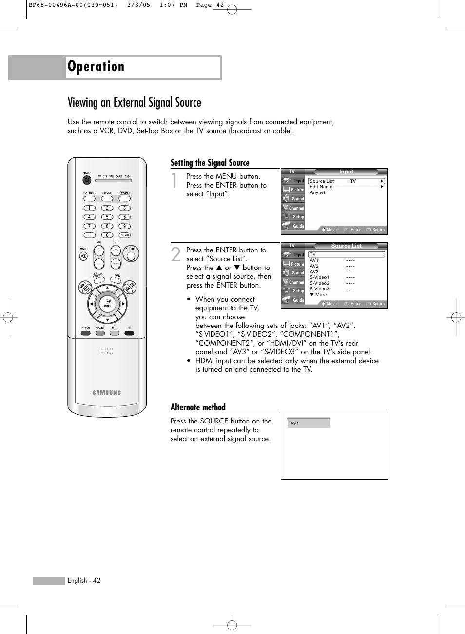 viewing an external signal source operation setting the signal rh manualsdir com