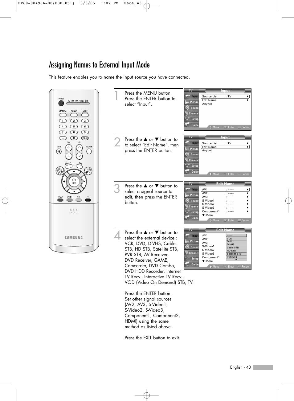 assigning names to external input mode samsung hlr4266wx xaa user rh manualsdir com