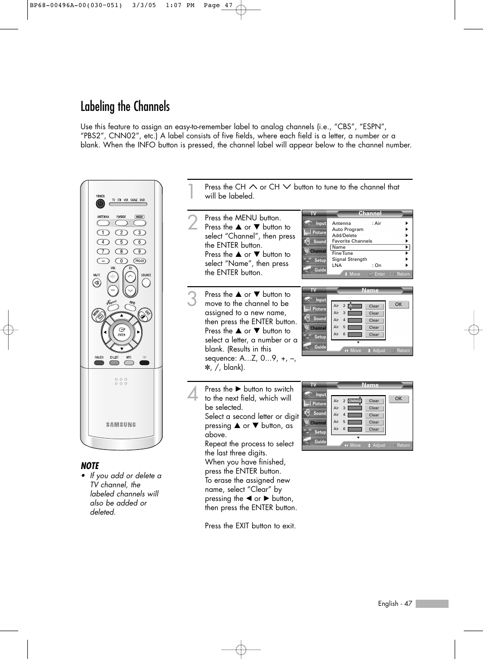 labeling the channels samsung hlr4266wx xaa user manual page 47 rh manualsdir com