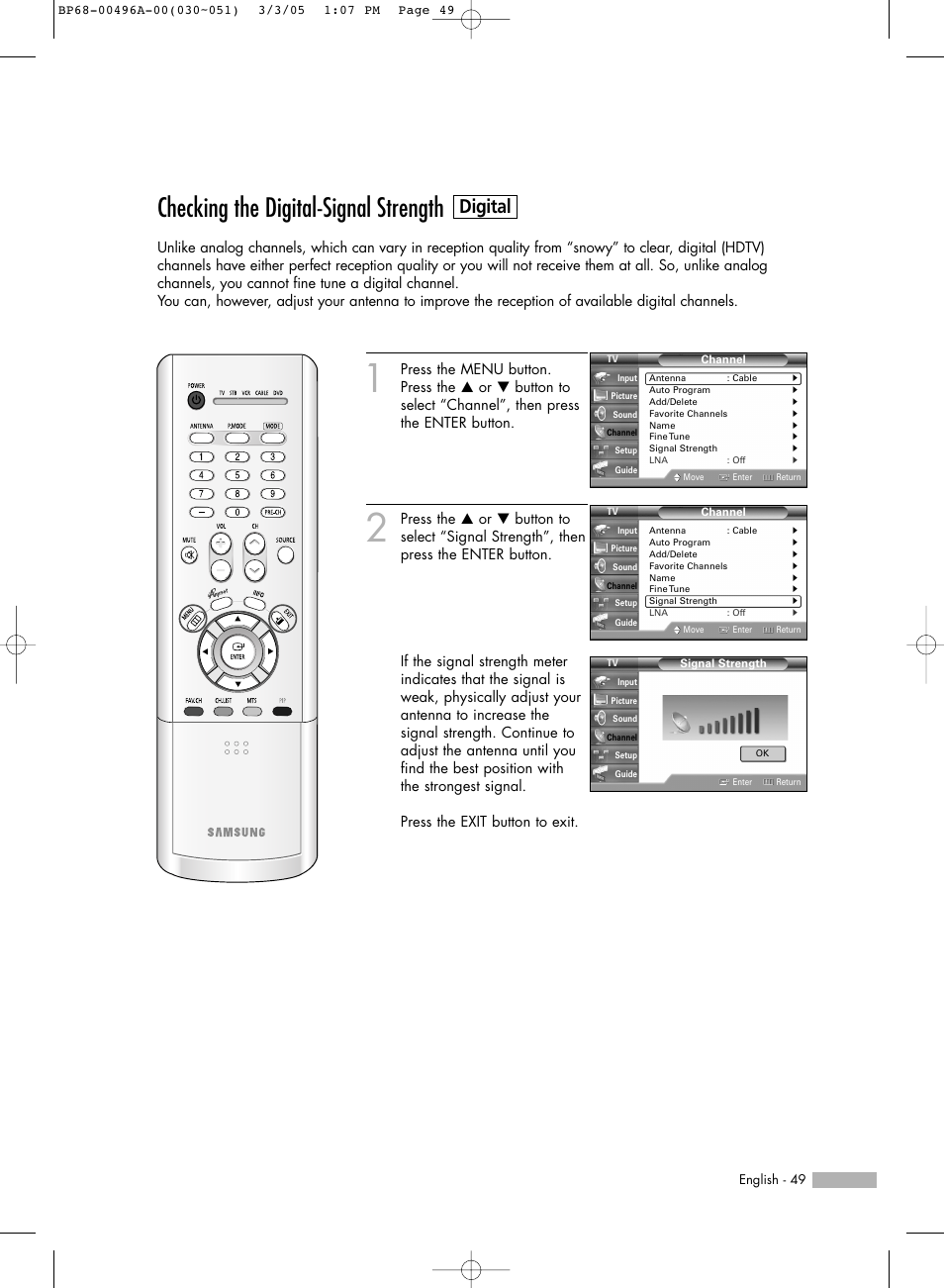 checking the digital signal strength digital samsung hlr4266wx rh manualsdir com