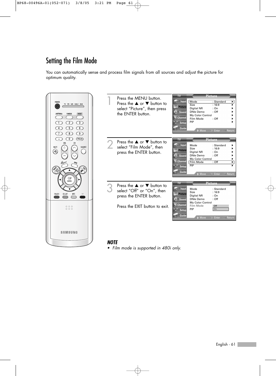 setting the film mode samsung hlr4266wx xaa user manual page 61 rh manualsdir com