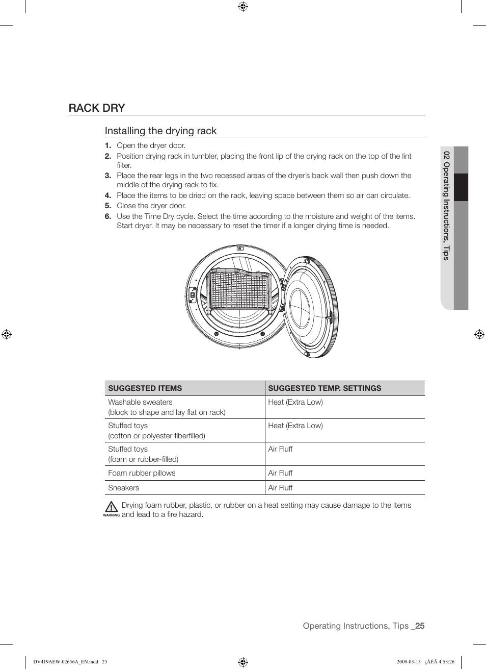 rack dry installing the drying rack samsung dv419aeu xaa user rh manualsdir com samsung dryer dv419aew/xaa troubleshooting