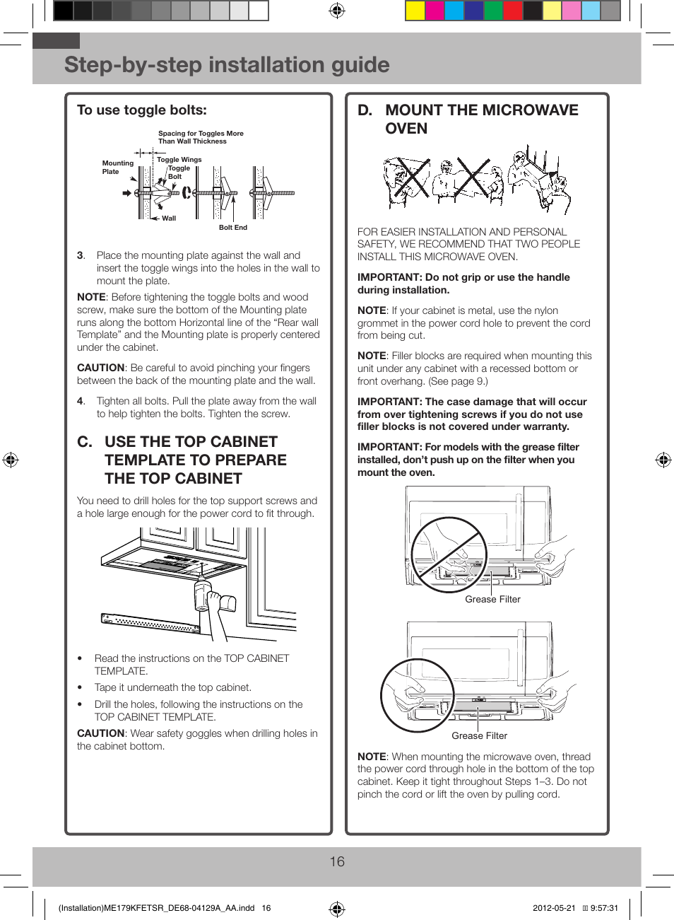 Step-by-step installation guide, D. mount the microwave oven | Samsung